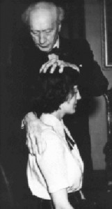F M Alexander, the Developer of the Alexander Technique works with a student