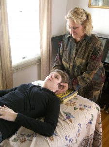 Alice Olsher works with an Alexander Technique student
